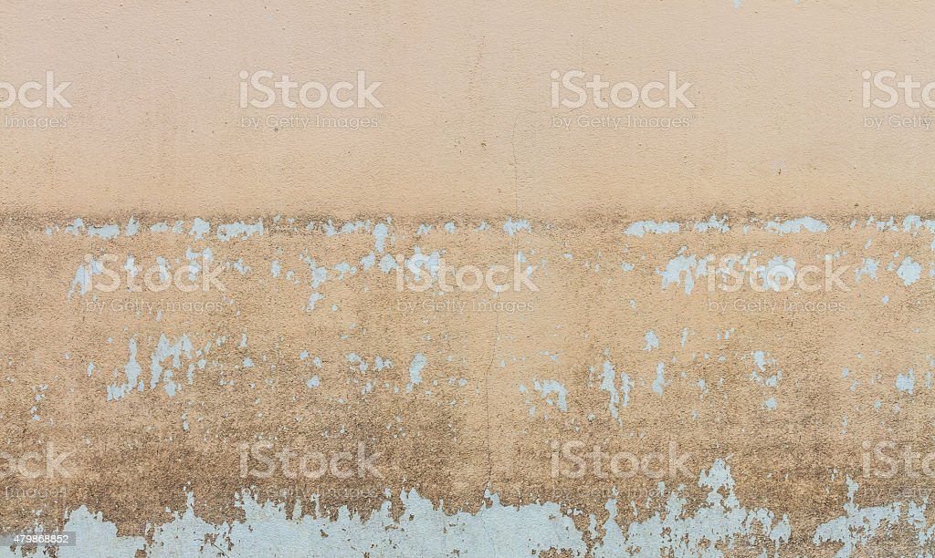 Water level stain pattern after flood on wall house stock photo