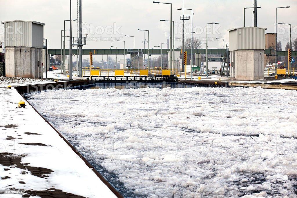 Water lock/sluice Mainz Kostheim, ice floes stock photo