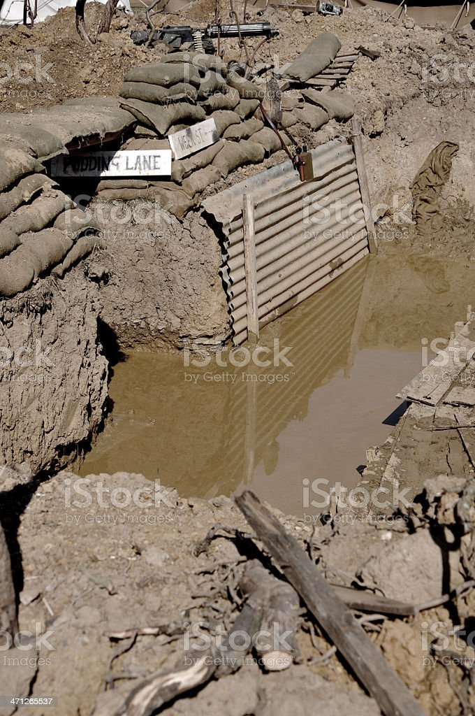 WW1 Water Logged Military Trench royalty-free stock photo