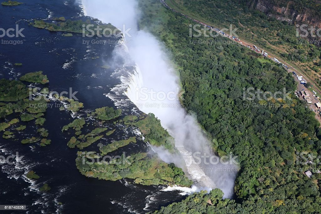 Water masses of Victoria Falls, Africa stock photo