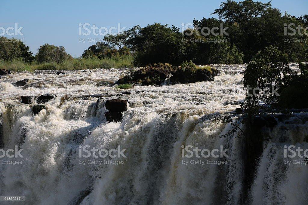 Water masses of Victoria Falls, Zambia Africa stock photo