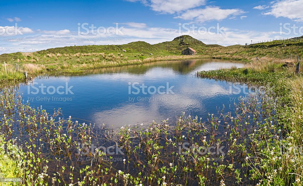 Water meadow stone hut Scotland stock photo