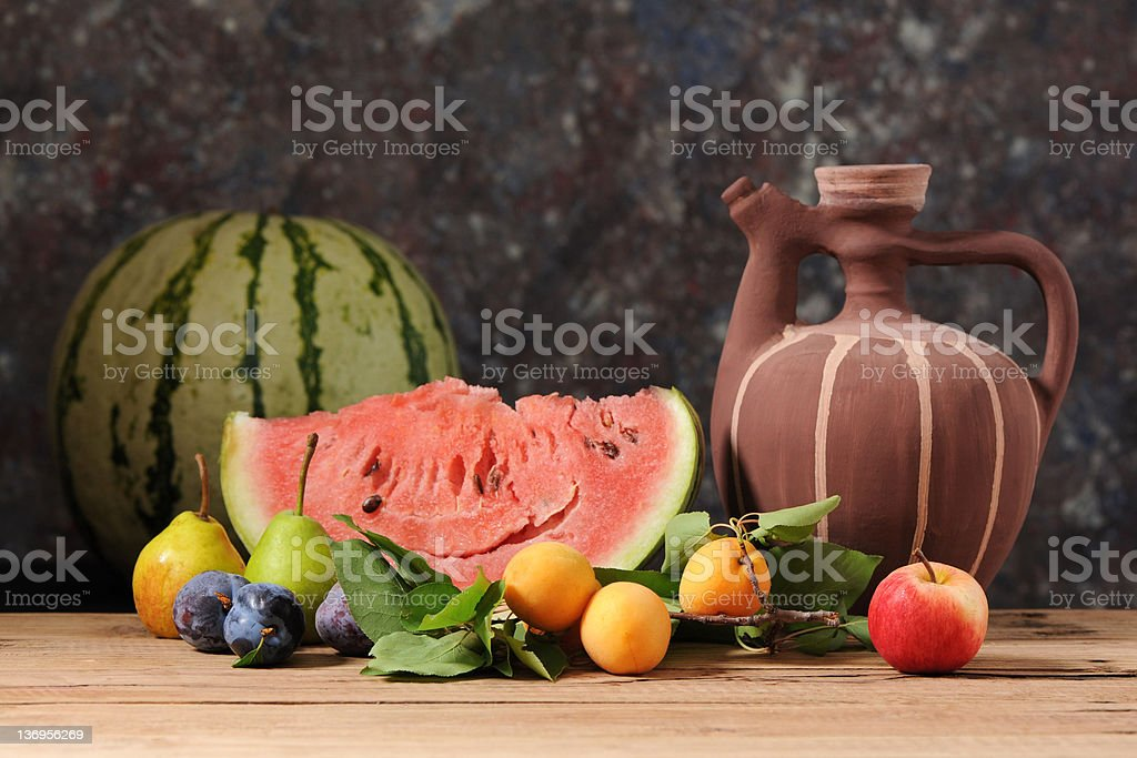 Water melon and fruit royalty-free stock photo