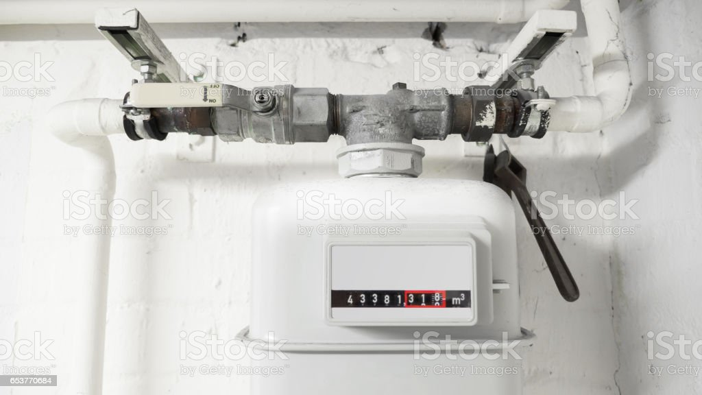 Water meter, Europe, in an old basement stock photo
