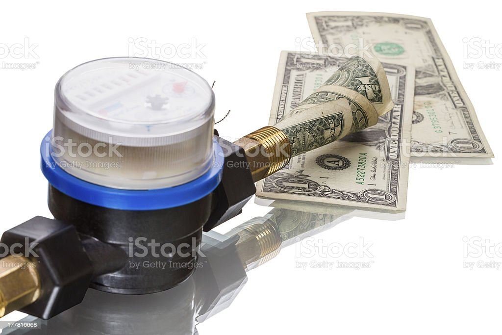 Water meter saves money stock photo