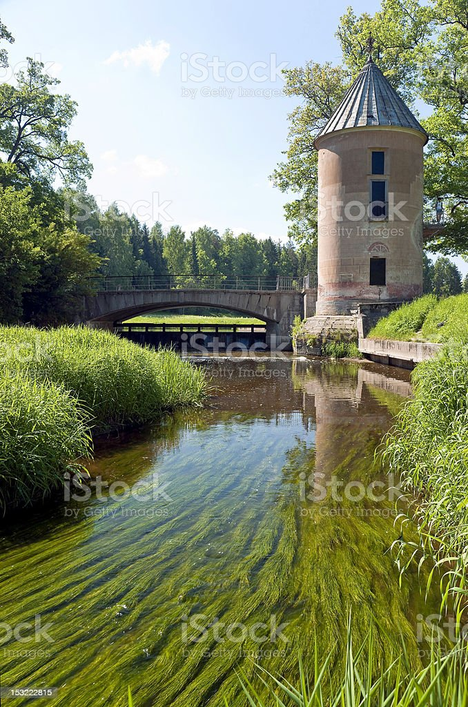 Water mill and the bridge stock photo