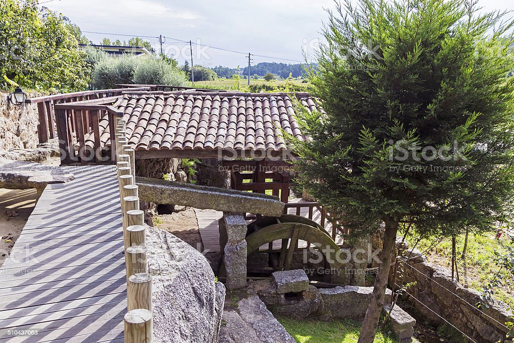 Water Mill in a Park stock photo