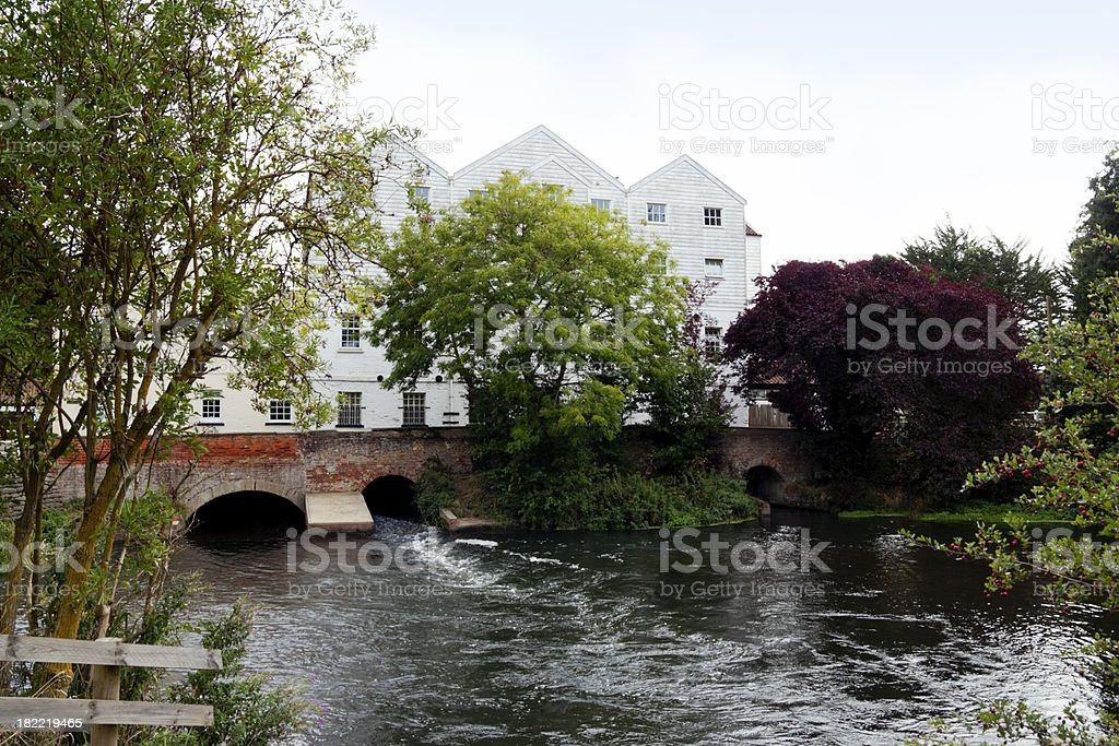 Water mill on the River Bure at Buxton, Norfolk stock photo