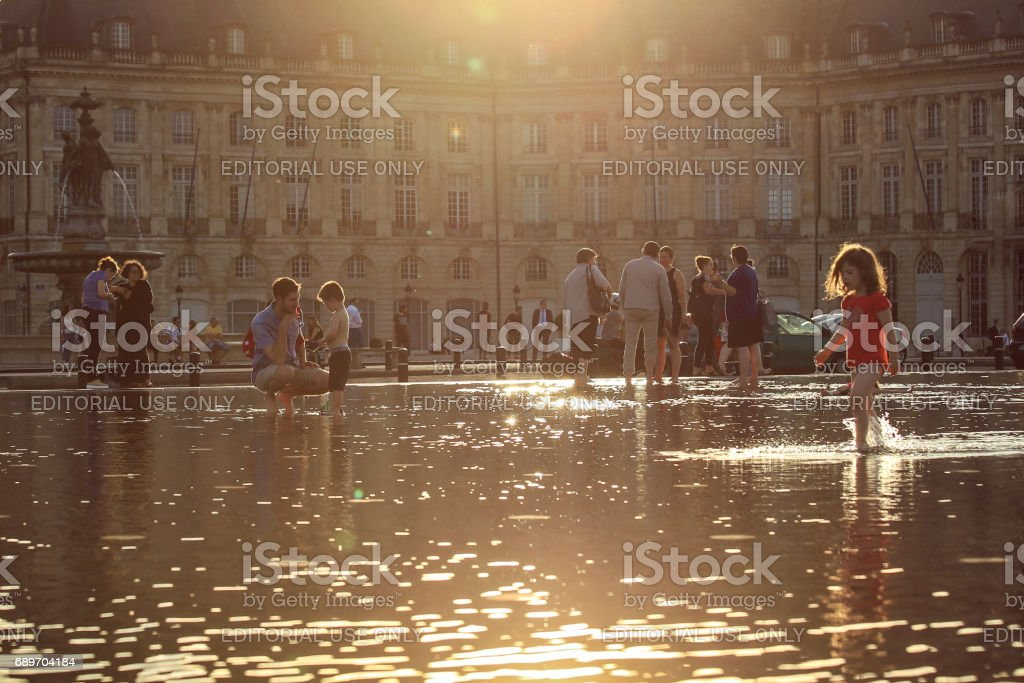 Water mirror in Bordeaux stock photo