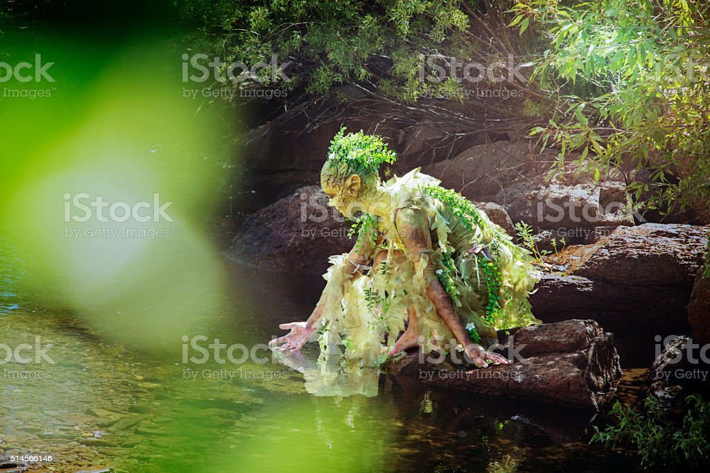 Water Nymph gently touching a woods stream stock photo