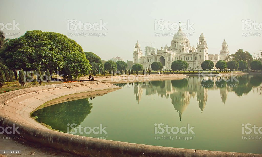 Water of pond near Victoria Memorial Hall in Kolkata stock photo