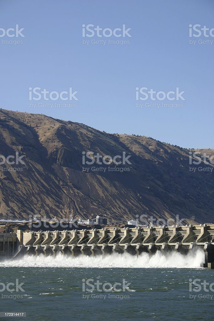 Water out of the spillway. stock photo
