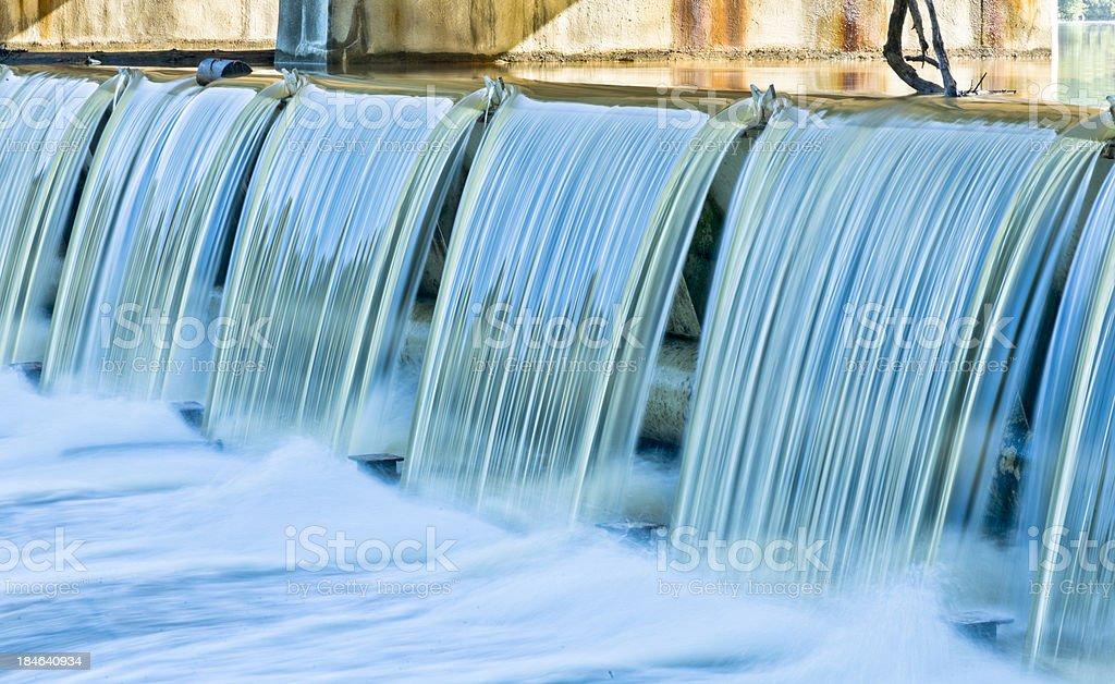 Water Over Dam Following Heavy Summer Rains - Time Exposure stock photo