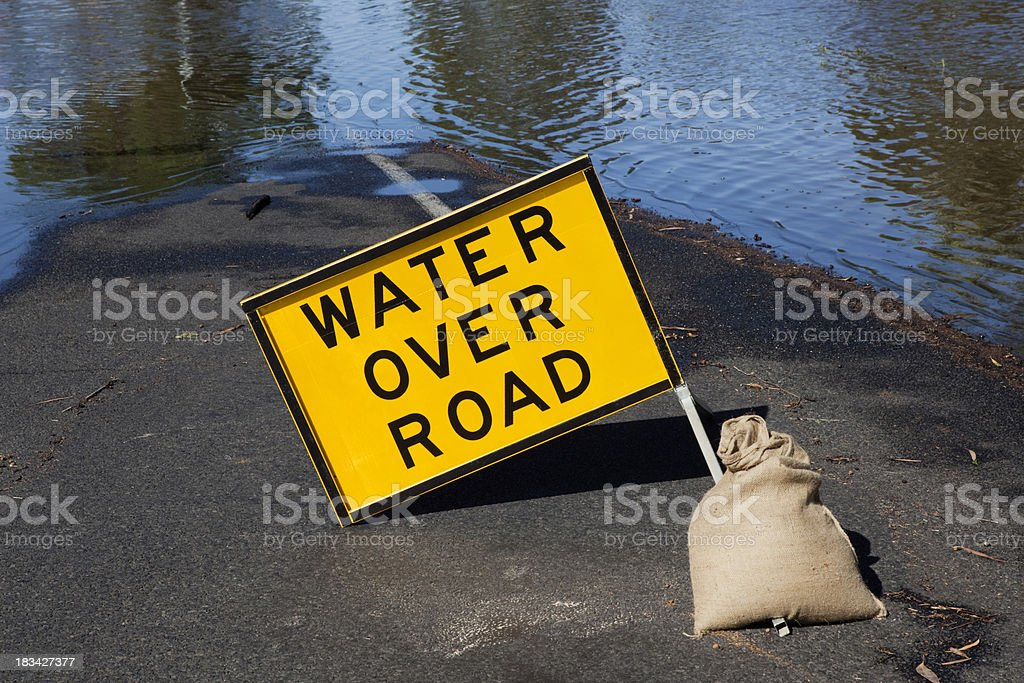 Water Over Road sign royalty-free stock photo