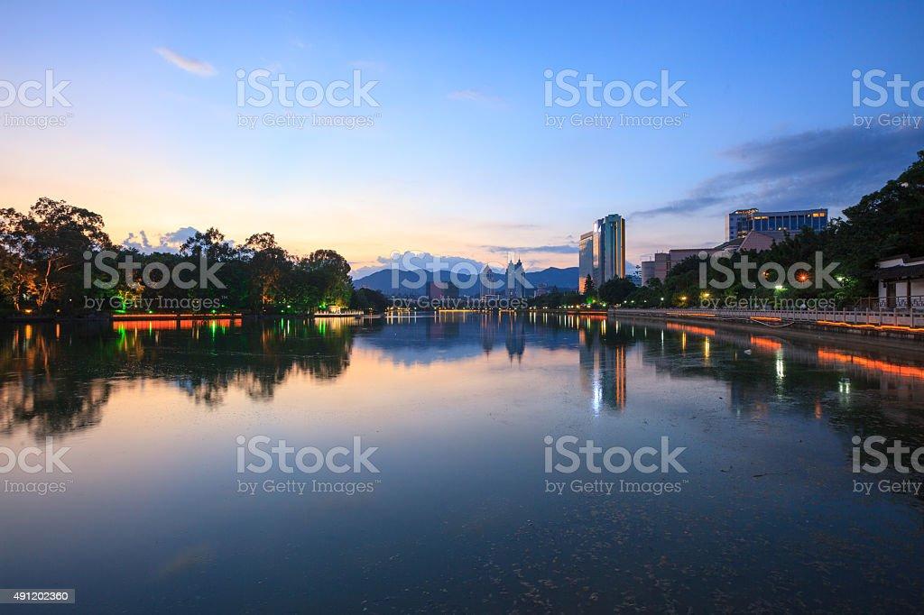 Water park scene at dusk stock photo