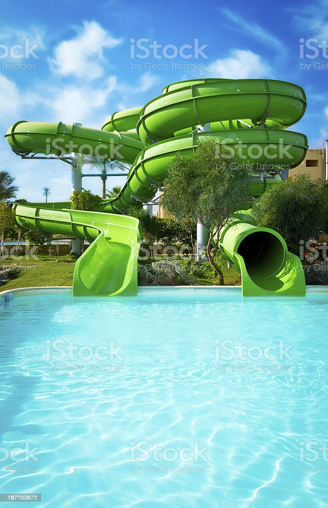 Water park slides stock photo