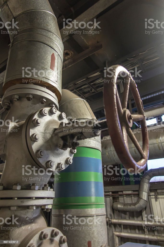 Water pipeline with large  valve stock photo