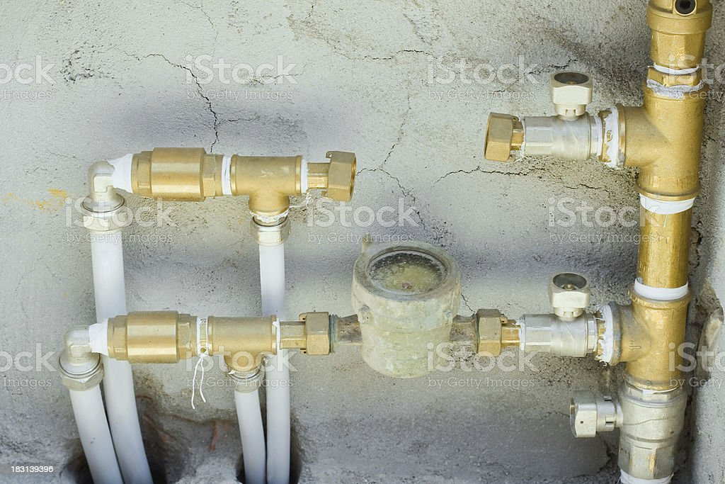 Water pipes half inch stock photo
