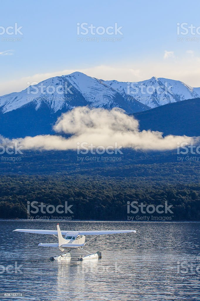 water plane floating in lake te anau fiordland national park stock photo