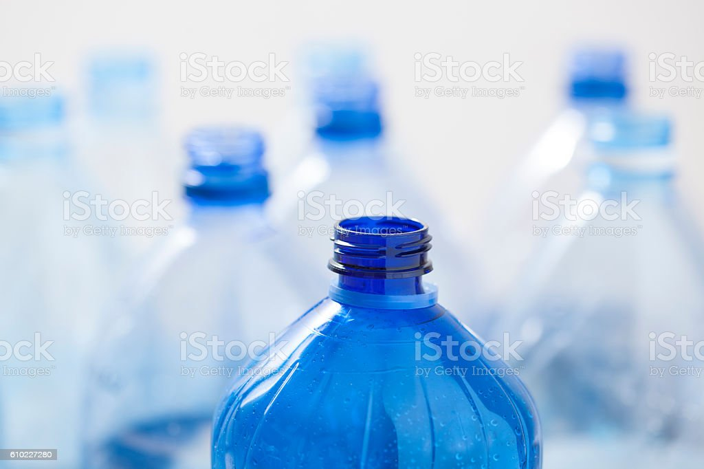 Water plastic bottles for recycling. stock photo