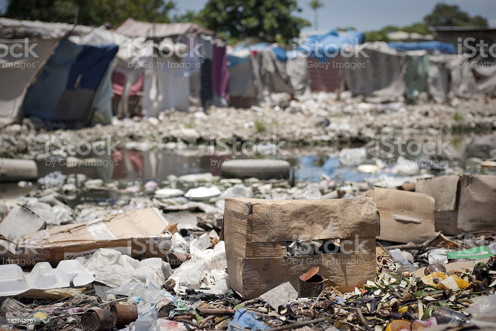 Water pollution in refugee camps stock photo