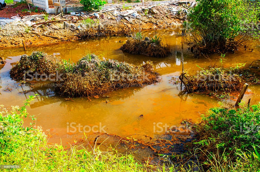 Water pollution under the sun stock photo