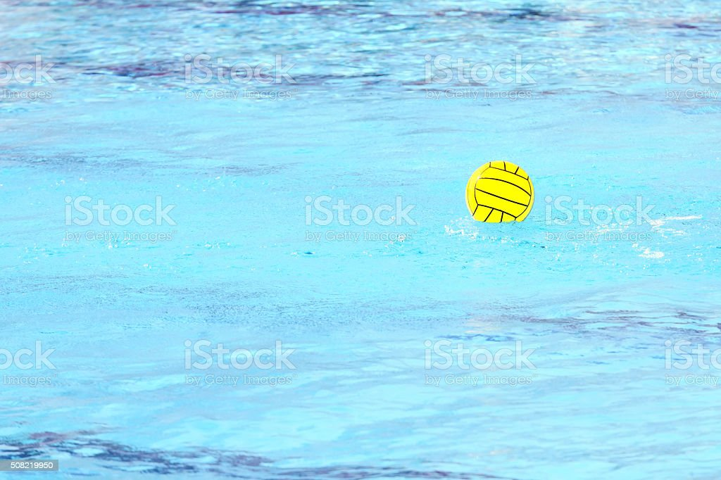 Water polo ball in a swimming pool stock photo
