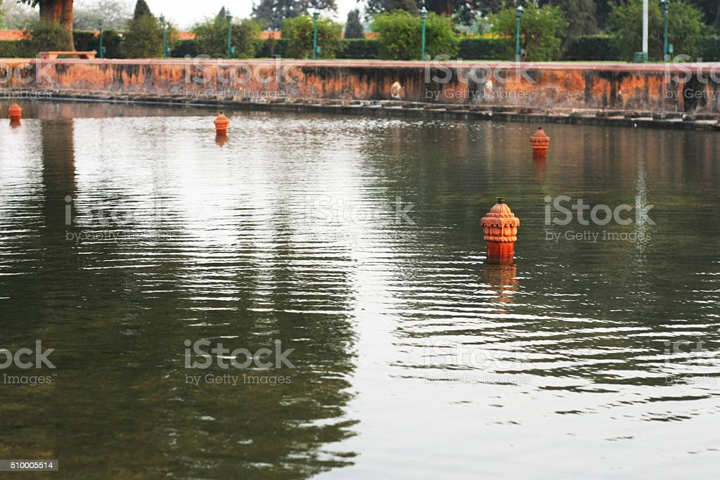 Water Pond In Red Fort Delhi stock photo