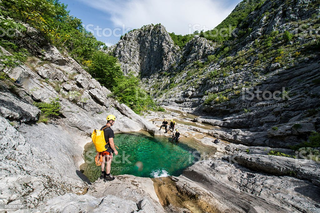 Water pool in the mountains stock photo