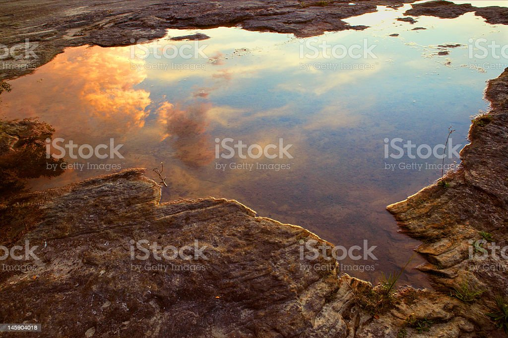 Water Pool With Reflection Of Storm Clouds royalty-free stock photo