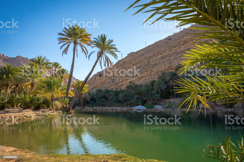Water pools in Wadi Bani Khalid, Oman stock photo