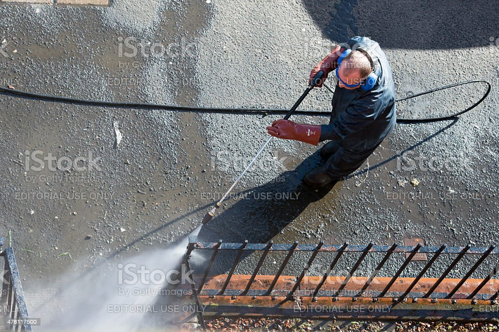 Water Pressure cleaning stock photo