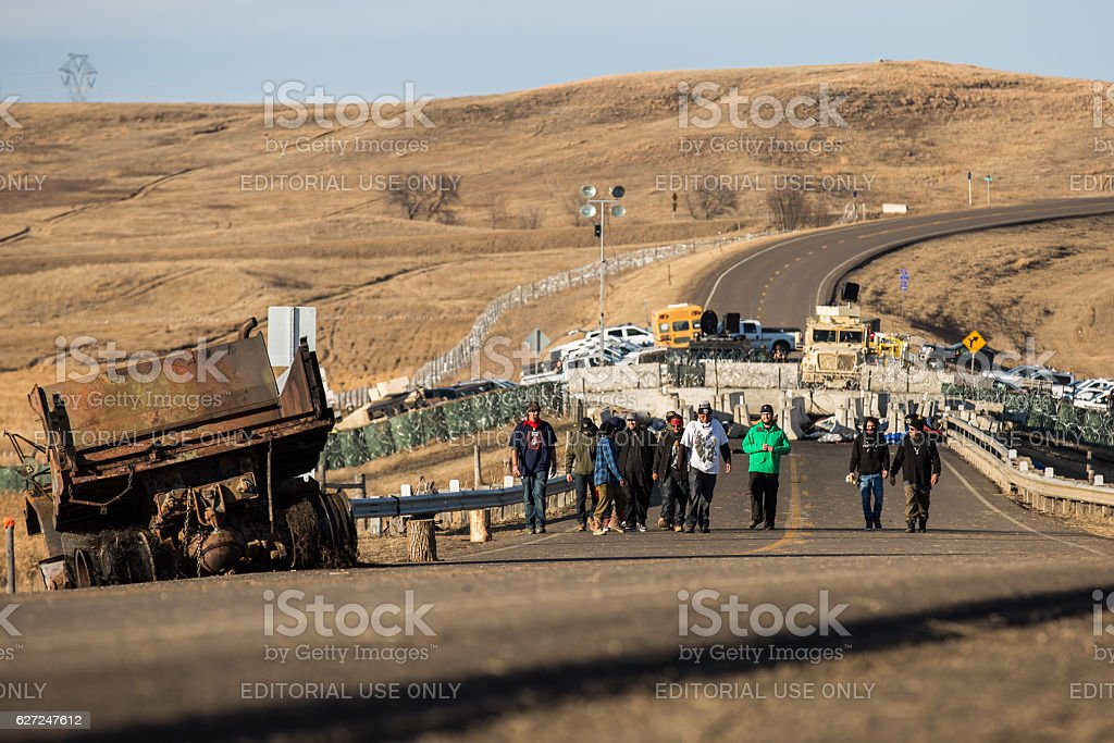 Water Protectors at the Frontlines at Standing Rock stock photo