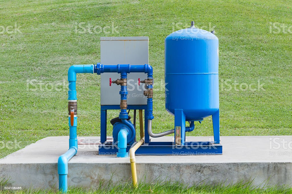 Water pump system on concrete floor stock photo