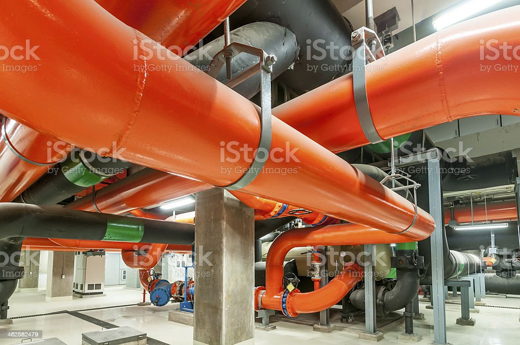 Water pumping station, industrial interior and pipes  . royalty-free stock photo
