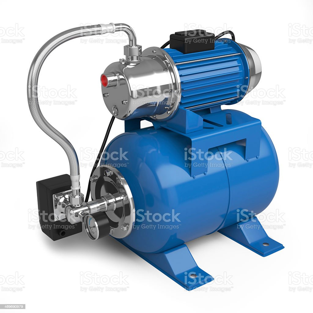 A water pumping station on a white background stock photo