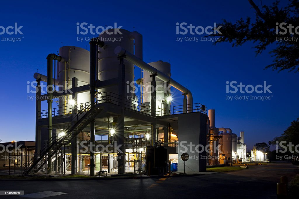 Water Purification Plant After Sunset stock photo