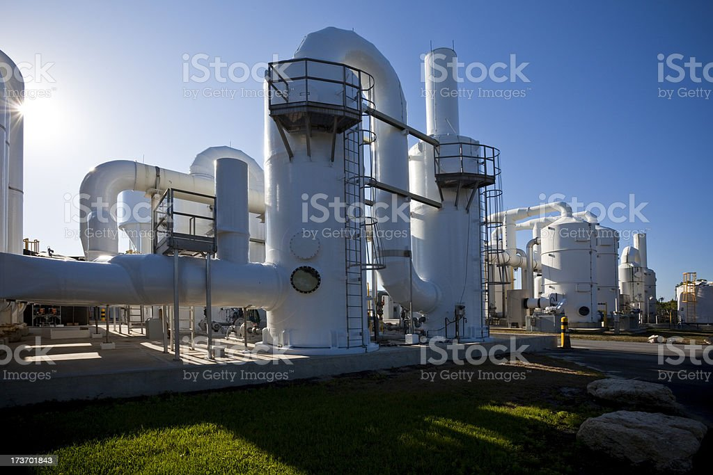 Water Purification Plant Late Day Long Shadows stock photo