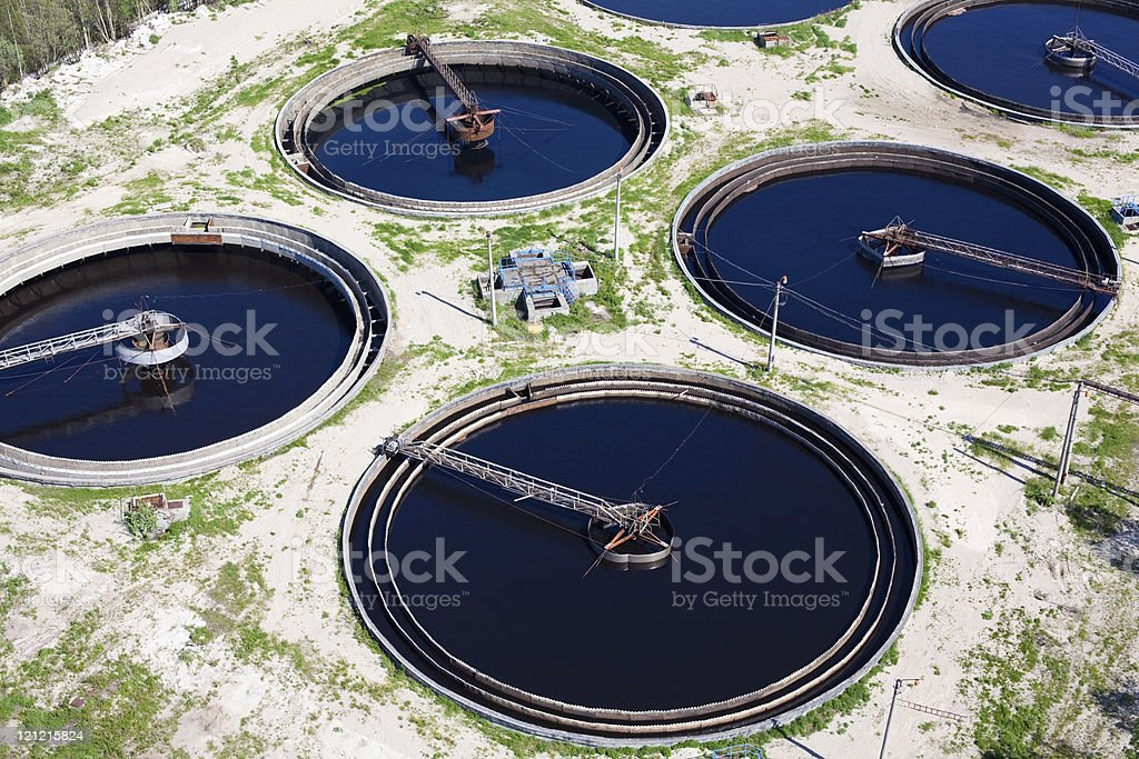 Water recycling in big sedimentation drainages stock photo