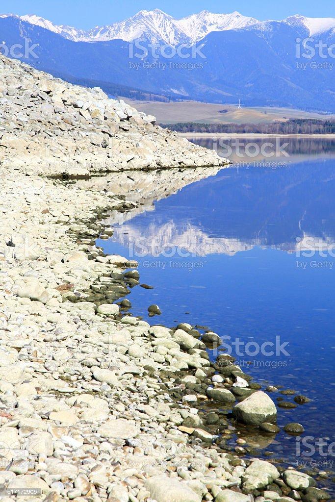 Water reflection on water basin Liptovska Mara, Slovakia stock photo