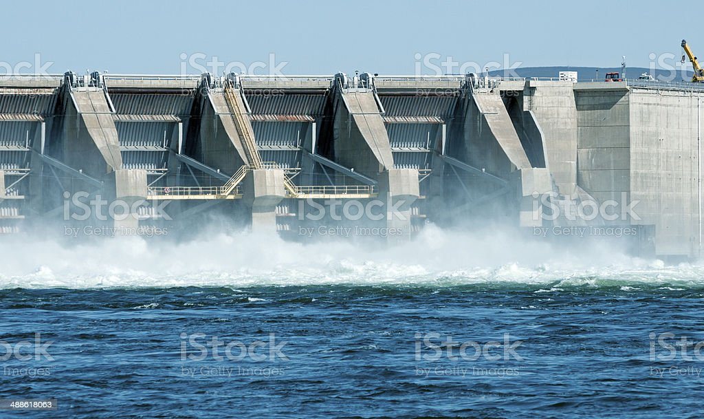 Water released by hydroelectric dam on Columbia River in Washington stock photo
