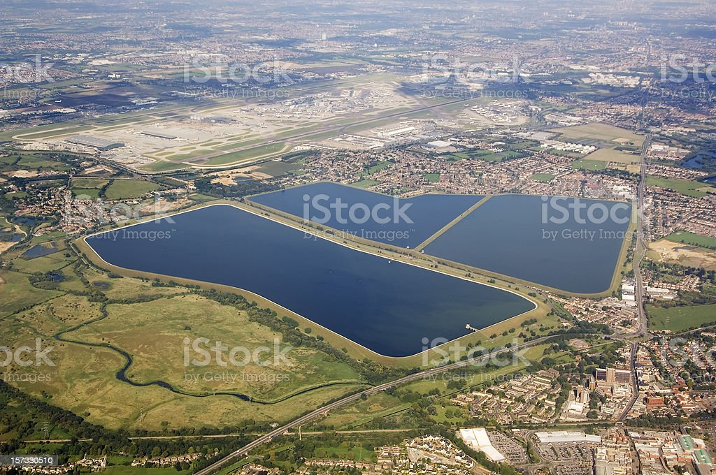 Water reservoir and Heathrow Airport London stock photo