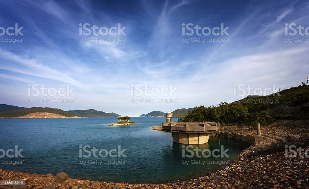Water reservoir in Hong Kong Geopark royalty-free stock photo