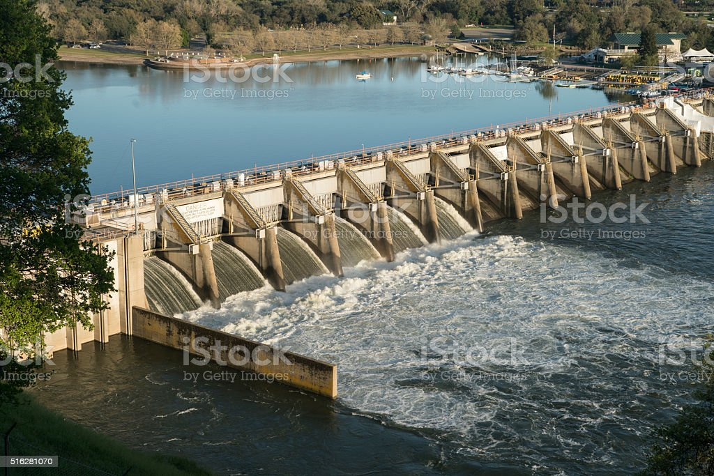 Water Reservoir Release Drinking lake Dam Nimbus Natoma Conservation Drought stock photo