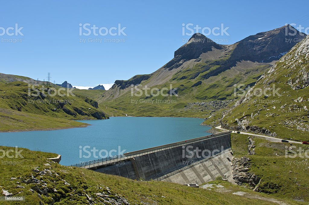 Water reservoir with dam royalty-free stock photo