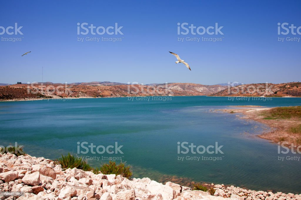 Paphos District, Cyprus - July 19, 2015: Water resorvoir Asprokremmos Dam stock photo