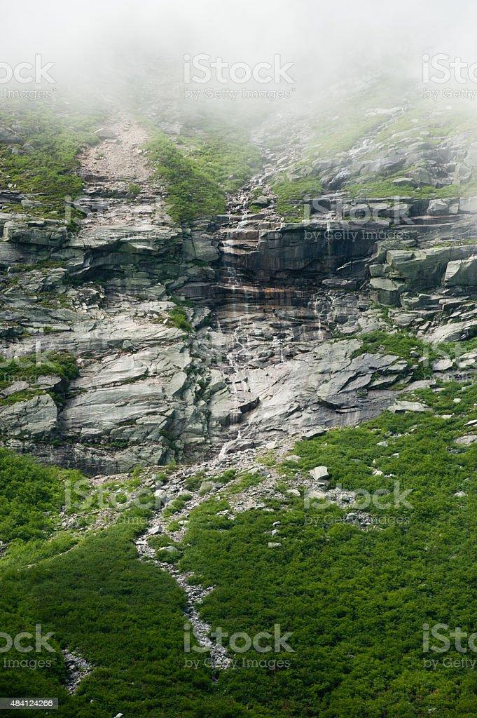 Water runs down Mt. Katahdin stock photo