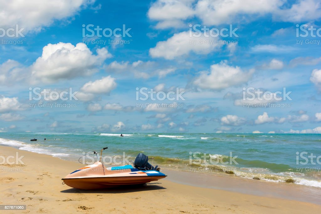 Water scooter on the beach. Beautiful nature. stock photo