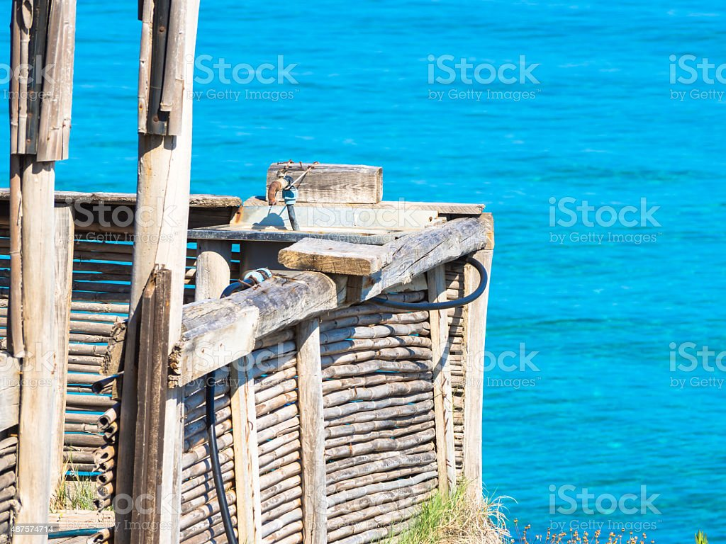 Water sea faucet stock photo