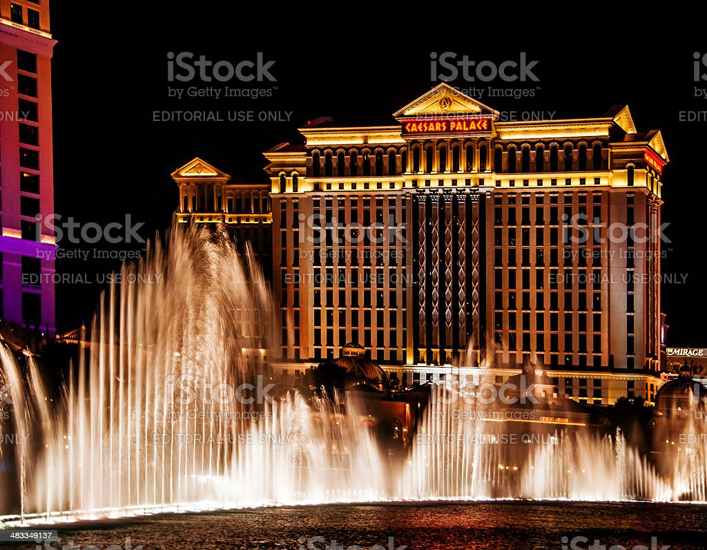 Water show on Caesars Palace Hotel background stock photo